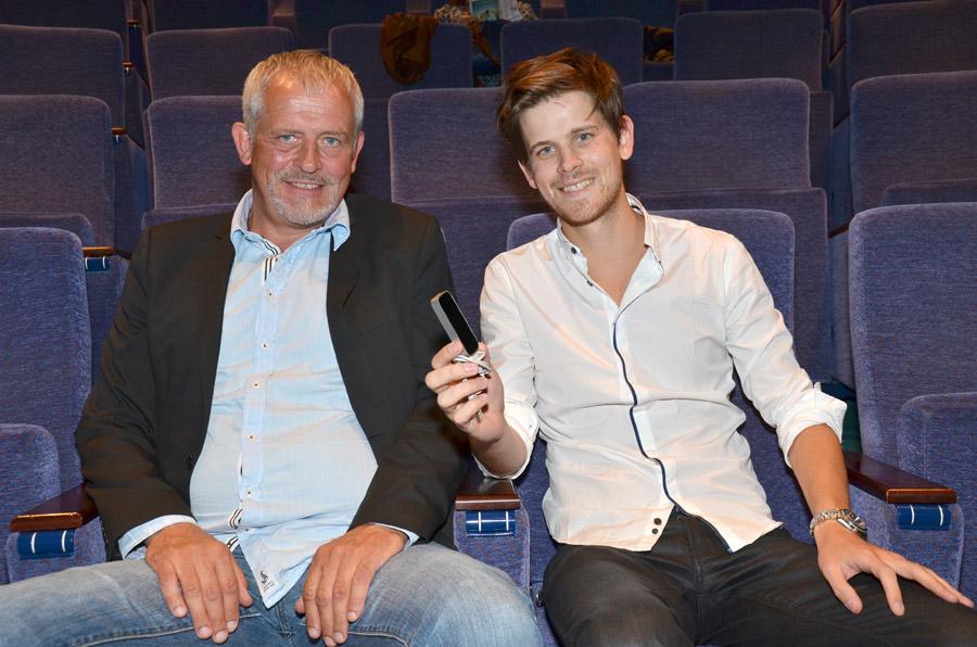 Far og sønn: Tore Martin Hansen, seniorutvikler og Martin Berg, utvikler, i Dialog eXe, presenterte produktutvikling fra selskapet under filmfestivalen i Haugesund i 2013. Foto: John Berge, KINOMAGASINET ©