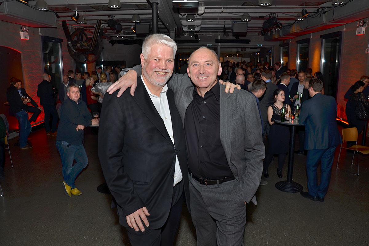 2013: Nicolai Martens (t.v.) og Egil Magne Akselsen på Dokkhusets scene i Trondheim for å feire firmaet de satte i gang for femten år siden. Foto: John Berge