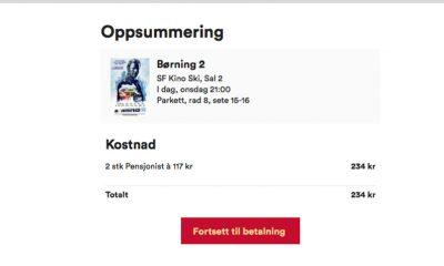 Ti prosent rabatt på alle kinobilletter hos alle SF Kino-kinoene heretter. Skjermbilde: SFKINO.no