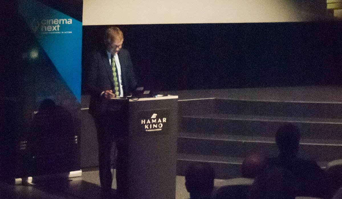 Paul Higginson, konserndirektør for 20th Century Foxs London-kontor, trakk frem at samarbeid, innovasjon, teknologi og markedsføring er noe av det sentrale for kinoen i fremtiden. Foto: Ann Mari Nettum, KINOMAGASINET