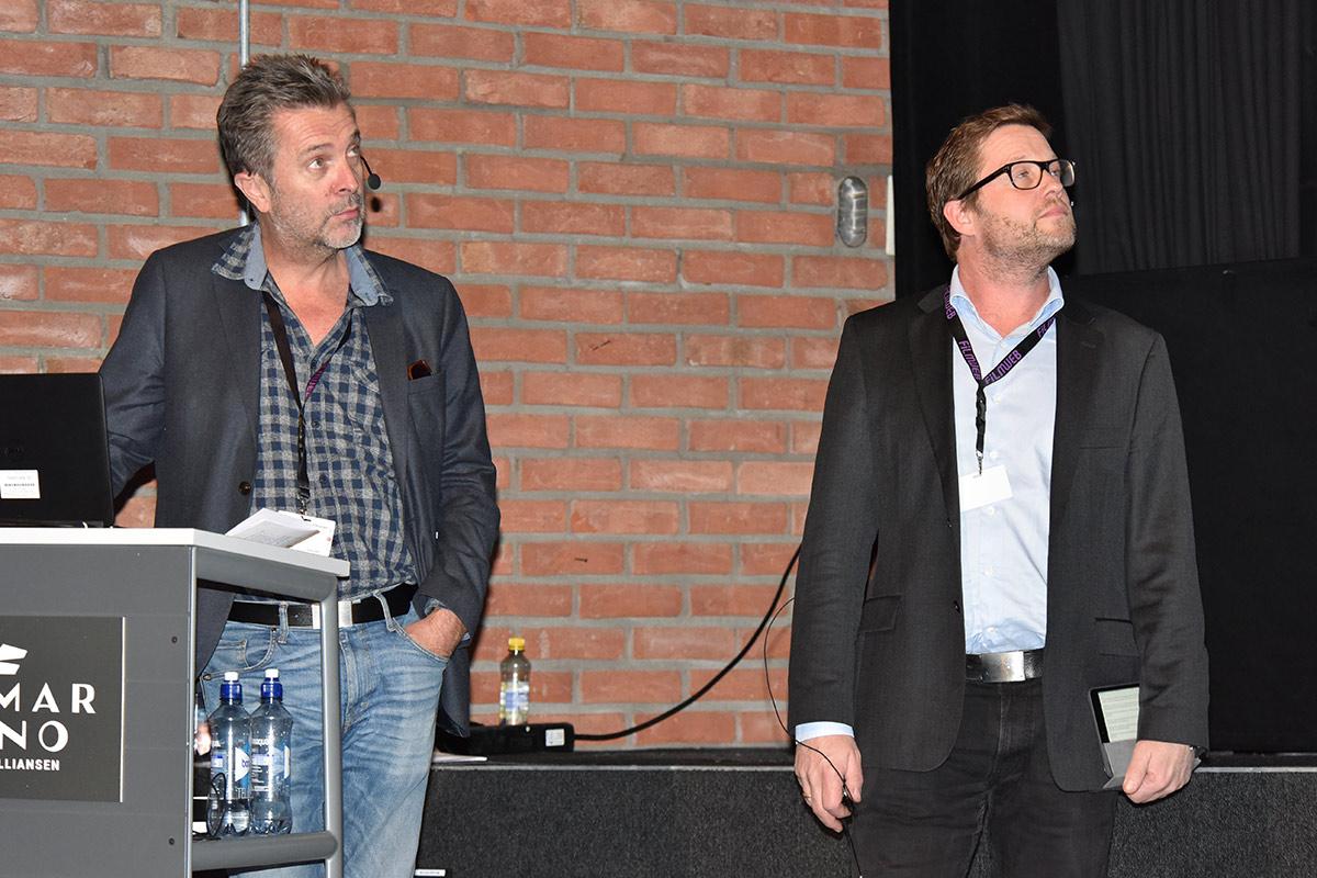 Guttorm Petterson fra Film & Kino og Simen Rognerud fra United International Pictures Norway A/S under Den norske kinokonferansen 2016. Foto: John Berge, KINOMAGASINET.
