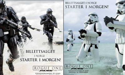 Reklamebannere for salgstart av kinobilletter til Rogue One: A Star Wars Story.