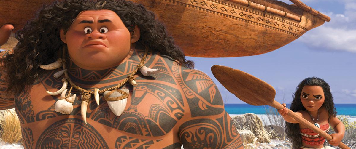 Dwayne Johnson har stemmen til Maui (t.v.) og Auli'i Cravalho spiller Moana/Vaiana Waialiki.