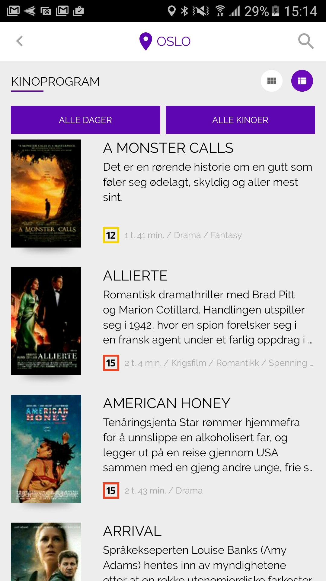 Skjermbilde fra Kinoprogram-appen.
