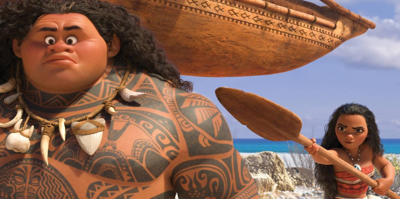 Vaiana (Auli'i Cravalho) møter Maui (Dwayne Johnson).