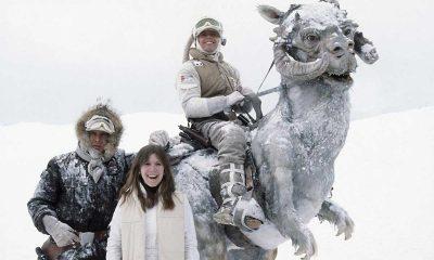 Harrison Ford, Carrie Fisher og Mark Hamill under Star Wars-innspillingen på Finse i 1979. Foto: StarWars.com